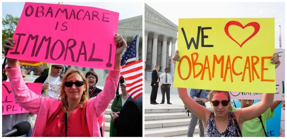 A combination file photo shows opponents (L) and supporters (R) of Affordable Healthcare Act rally on the sidewalk at the Supreme Court in Washington on March 28, 2012 and on June 28, 2012 respectively. The Obama administration said on July 2, 2013 it would not require employers to provide health insurance for their workers until 2015, delaying a key provision of President Barack Obama's healthcare reform law by a year, to beyond the next election.  REUTERS/Jonathan Ernst (L) and  REUTERS/Joshua Roberts (R)  (UNITED STATES - Tags: POLITICS HEALTH) - RTX11B3H